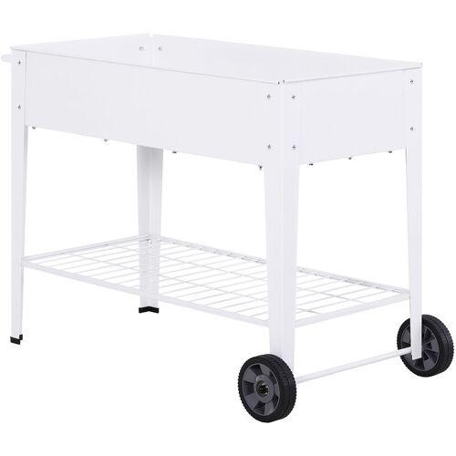 Outsunny ® Hochbeet Metall Mobiler Pflanzenwagen mit Stauraum Pflanzenbeet 2