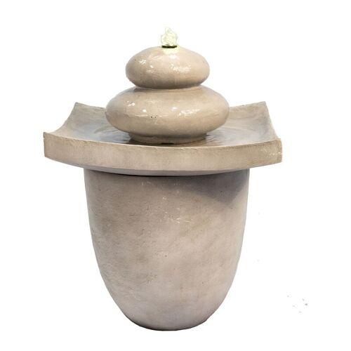 PEAKTOP 2-stöckiger Brunnen aus Zen-Steinen, wassenbrunnen mit LED-Beleuchtung