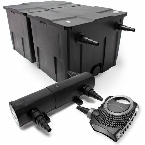 WILTEC Set: Bio Teichfilter 60000l 24W UVC Teichklärer 80W Teichpumpe - WILTEC