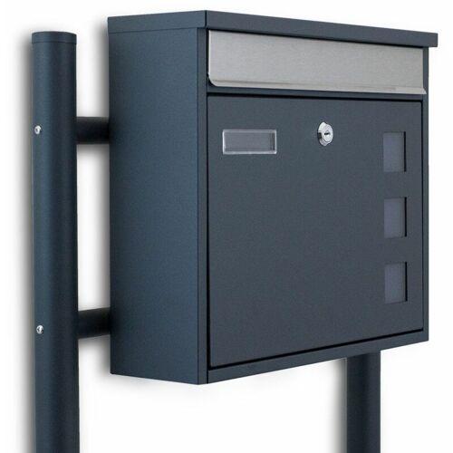 BITUXX Standbriefkasten Briefkastenanlage Einwurfklappe aus Edelstahl