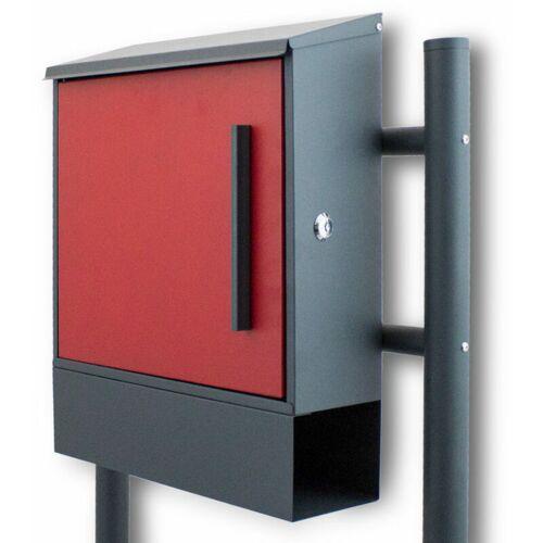 BITUXX Standbriefkasten Briefkastenanlage mit Seitenschloss Dunkelgrau / Rot