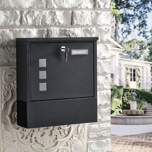 WOOHSE Design Briefkasten Schwarz mit Zeitungsfach, Namensschild,