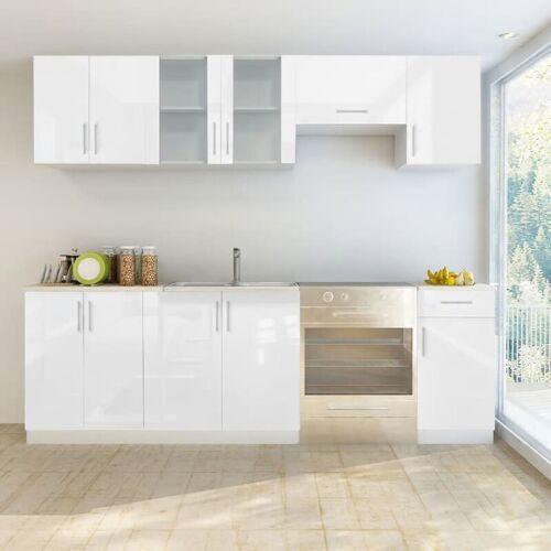 Zqyrlar - Küchenzeile 7-tlg. Hochglanz Weiß 240 cm