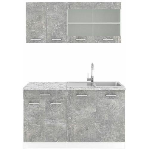 VICCO Küchenzeile SINGLE Einbauküche 140 cm Küche Beton Optik Grau R-LINE