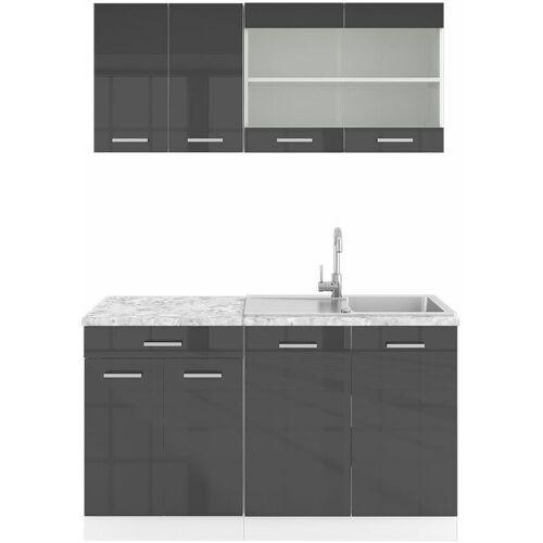 VICCO Küchenzeile SINGLE Einbauküche 140 cm Küche Anthrazit Hochglanz