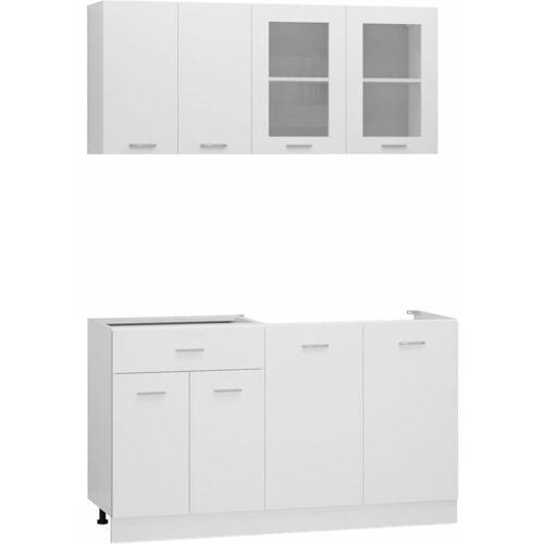 VIDAXL 4-tlg. Küchenzeile Spanplatte Weiß