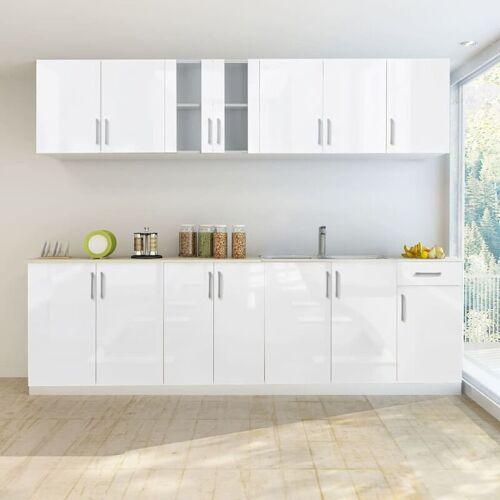 ZQYRLAR 8-tlg. Küchenzeile Hochglanz Weiß 260 cm
