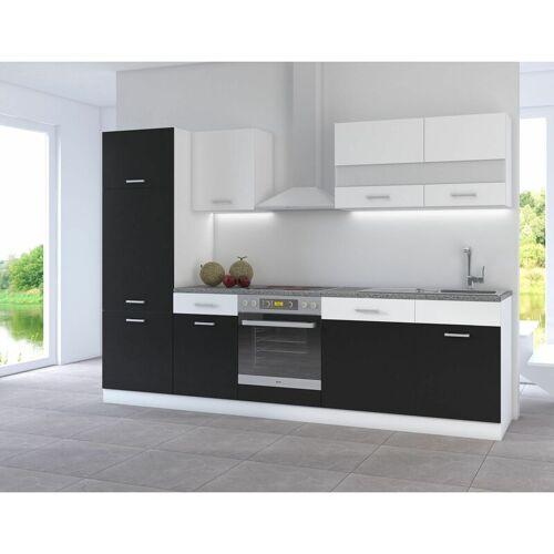 KÜCHEN PREISBOMBE Küche CORA I 280 Küchenzeile Küchenblock Einbauküche Weiss Schwarz