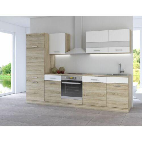 KÜCHEN PREISBOMBE Küche CORA III 280 Küchenzeile Küchenblock Einbauküche Sonoma Eiche +