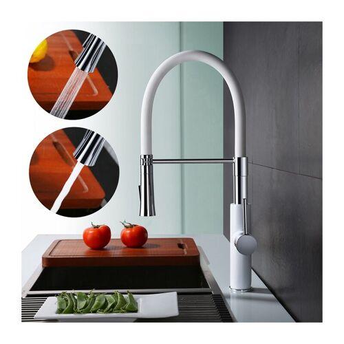 Homelody - Küchenarmatur mit Handbrause Wasserhahn Küche Weiß