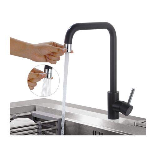 HOMELODY Küchenarmatur Schwarz Wasserhahn küche 2 Funkionen Spültischarmatur