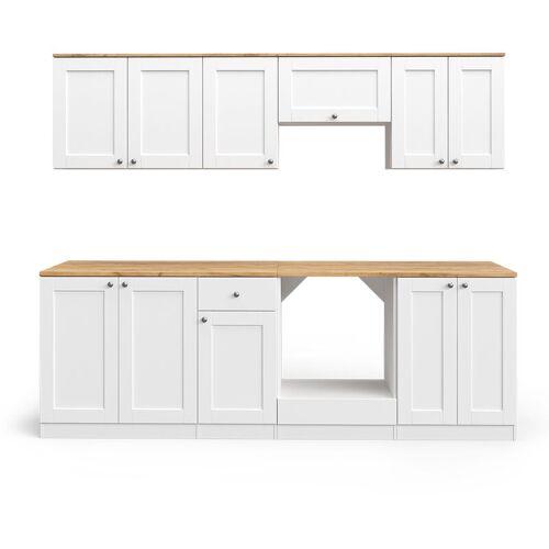 VICCO Küchenzeile Cambridge 240cm Landhaus Stil Einbauküche Komplettküche