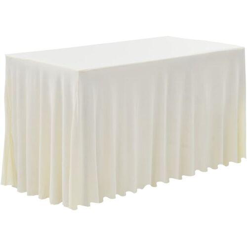 VIDAXL 2 Stück Tischdecken mit Rand Stretch Creme 120 x 60,5 x 74 cm