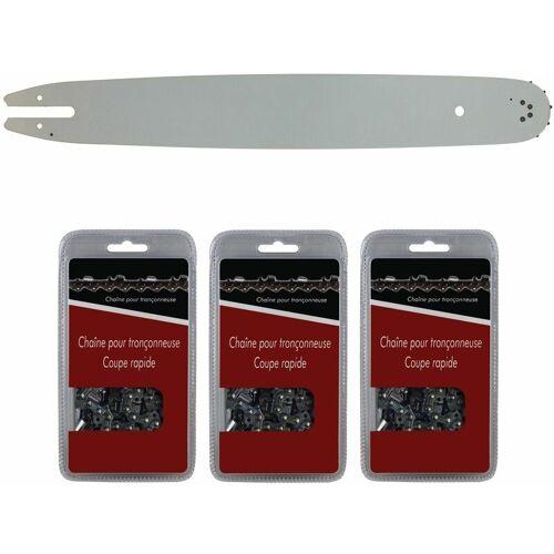 GT Market Führungsschiene 40 cm (16 Zoll) + 3 Sägeketten 3/8', 1,3mm,
