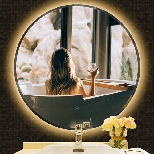 OOBEST Anti-Fog Rund Badspiegel Wandspiegel Badspiegel Warmweiß Kante