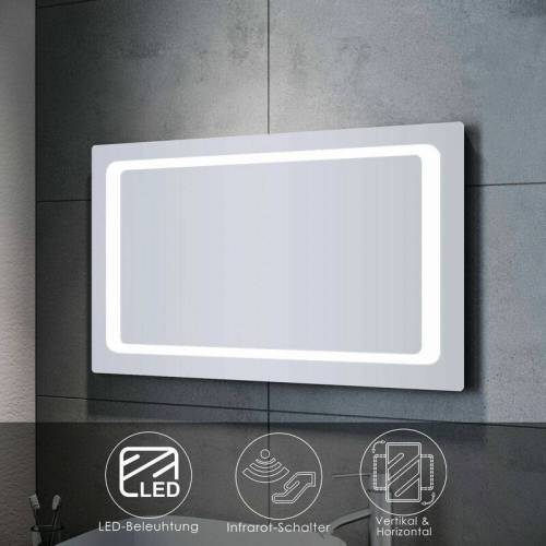 SONNI Badspiegel LED 100x60 mit Beleuchtung Infrarot Wandspiegel