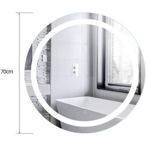 WYCTIN Badspiegel LED Quecksilber-Badezimmerspiegel Anti-Fog Badspiegel Rund