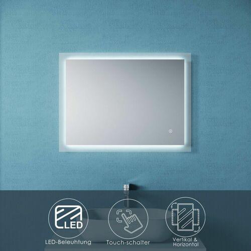SONNI Badspiegel mit LED Beleuchtung Touch 80x60 Wandspiegel