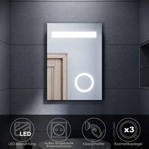 SONNI LED Badspiegel Wandspiegel Kosmetikspiegel mit Rasiersteckdose