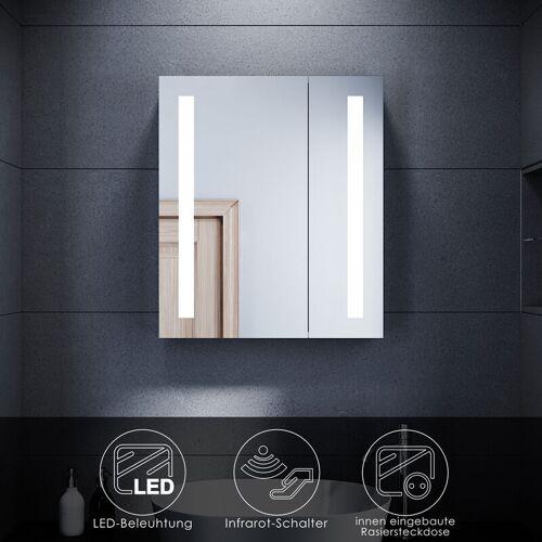 SONNI Spiegelschrank LED Beleuchtung und Steckdose Infrarot Badspiegel