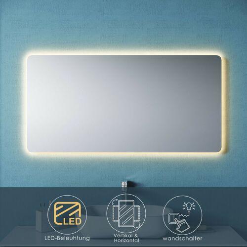 SONNI Badspiegel LED 120x60 mit Beleuchtung Wandspiegel Spiegel Lichtspiegel