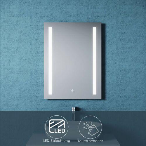 SONNI Badspiegel LED 60X80 mit Beleuchtung Touch Spiegel Wandspiegel