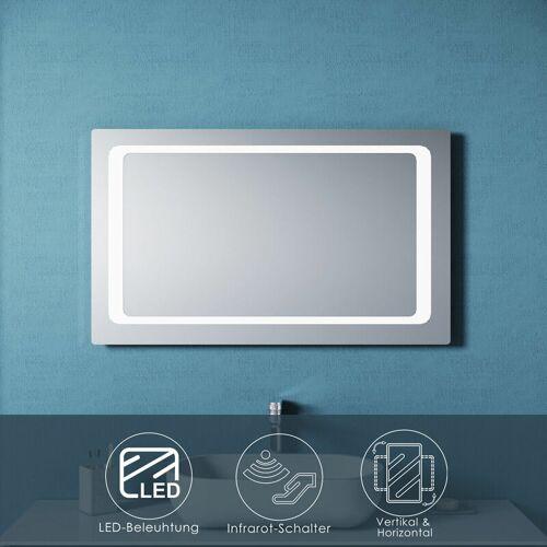 SONNI Badspiegel LED mit Beleuchtung Infrarot Wandspiegel Badezimmerspiegel