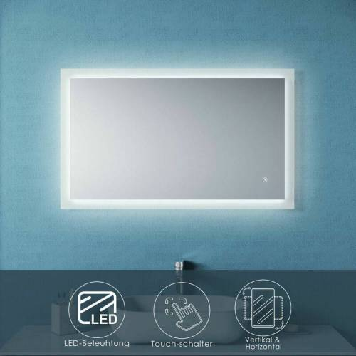 SONNI Badspiegel mit LED Beleuchtung Touch 100x60 Wandspiegel