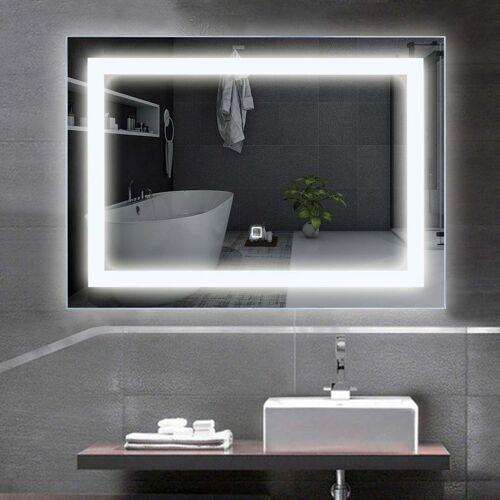 COSTWAY LED-Spiegel 70 x 50cm, Badspiegel mit Beleuchtung, Wandspiegel mit