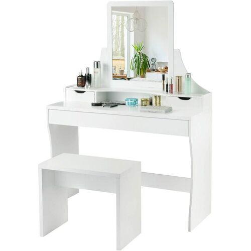 COSTWAY Schminktisch Weiss, Make-up Tisch, Frisiertisch Holz,