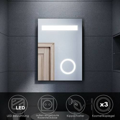 SONNI LED Badspiegel Wandspiegel Kosmetikspiegel mit Rasiersteckdose für