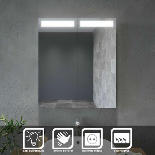SONNI Spiegelschrank mit LED Beleuchtung 60 x 70 Badspiegel mit Beschlagfrei
