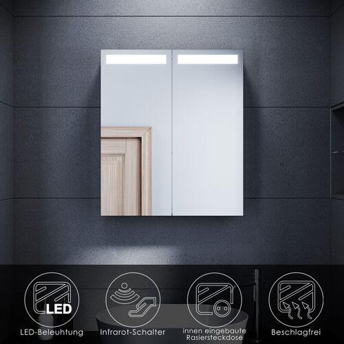 SONNI LED Spiegelschrank mit Beleuchtung 60 x 70 Badspiegel mit Beschlagfrei
