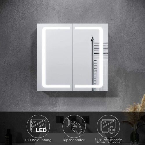SONNI Spiegelschrank LED mit Beleuchtung Steckdose Kippschalter Badspiegel