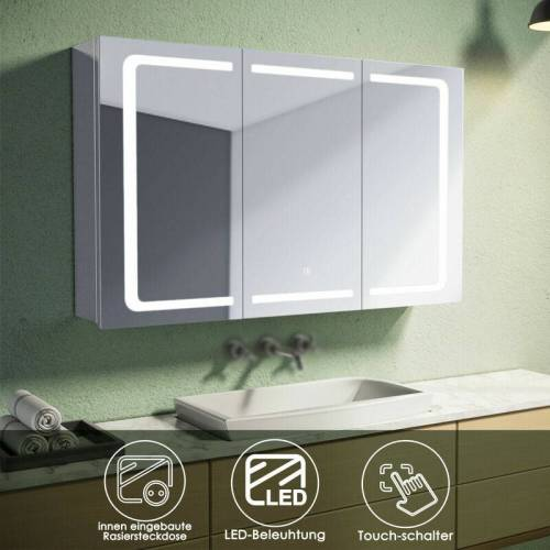 SONNI Spiegelschrank mit beleuchtung und steckdose Badspiegel LED Touch