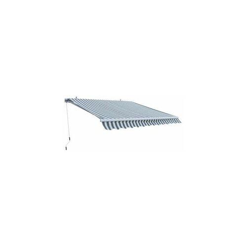 DEMA Alu Markise grau / weiß 3 x 2,5 m Gelenkarmmarkise Sonnenschutz