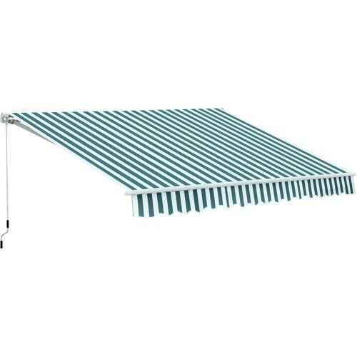 Outsunny ® Alu Gelenkarm-Markise 3,5m x 2,5m Sonnenschutz grün-weiß - grün/weiß