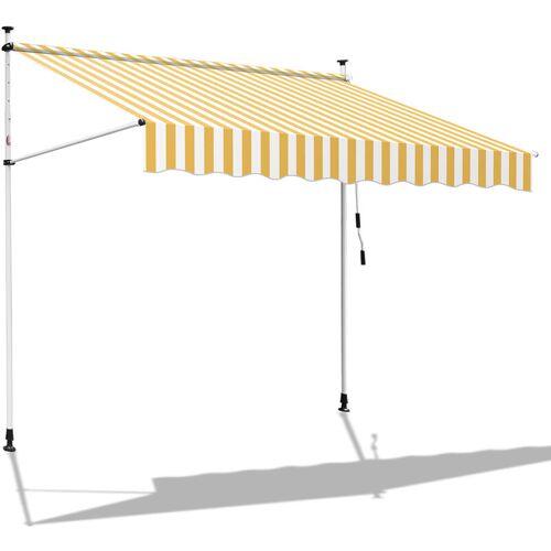 Hengda 350 x 120 cm Markise Einziehbar Klemmmarkise Balkonmarkise