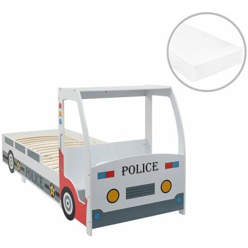 Vidaxl - Polizeiauto-Kinderbett mit Matratze 90x200 cm 7 Zone H2 H3