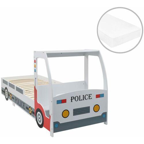 Vidaxl - Polizeiauto-Kinderbett mit Memory-Schaum-Matratze 90×200 cm