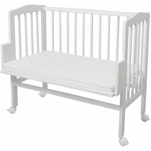 WALDIN Baby Beistellbett mit Matratze, höhen-verstellbar, Holz natur