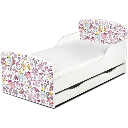 LEOMARK Einzelbett aus Holz - rosa - Kinderbett mit Schubladen und Matratze +