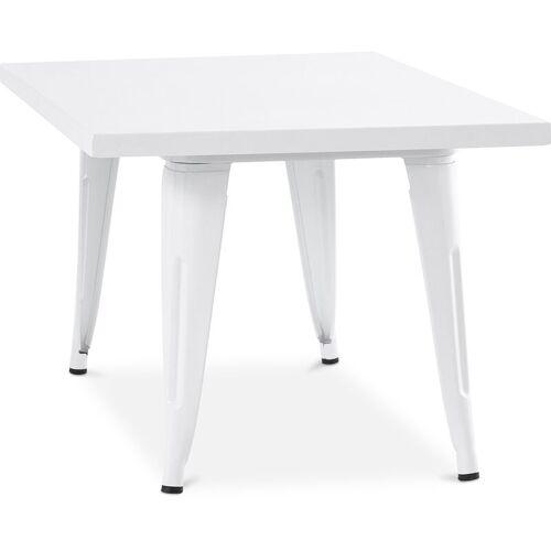 PRIVATEFLOOR Style Tolix Kindertisch 60 cm - Metall Weiß