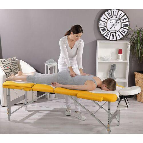 Mucola - Aluminium 3 Zonen Massageliege Therapieliege weiß/gelb +