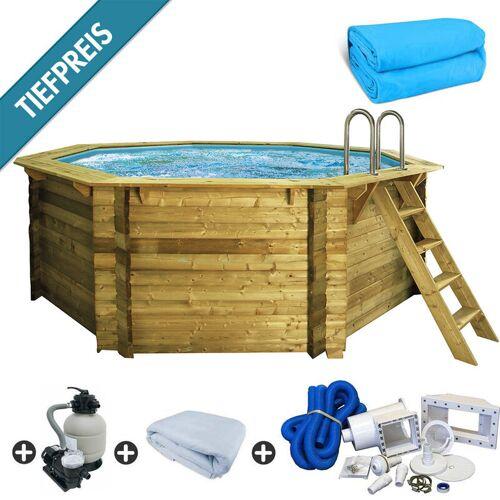 Trend Pool - Holzpool SET Achteck Folie blau 4,70 x 4,70 x 1,24 m