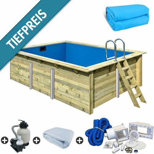 Trend Pool - Holzpool SET Rechteck Folie blau 3,50 x 4,40 x 1,24 m
