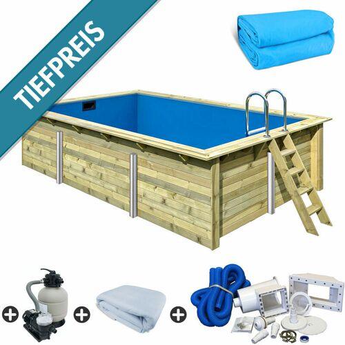 Trend Pool - Holzpool SET Rechteck Folie blau 3,50 x 5,30 x 1,24 m