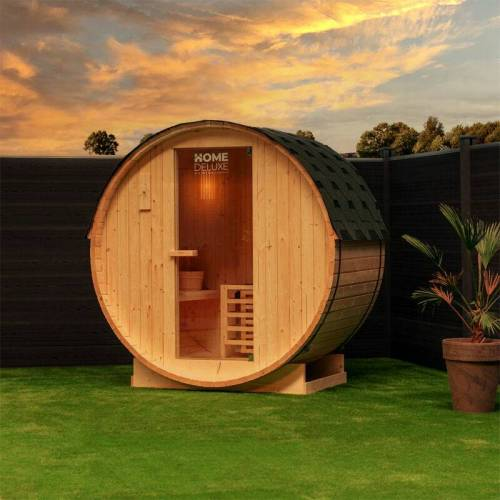 Home Deluxe - Outdoor Fasssauna inkl. Saunaofen Lahti M I Gartensauna,