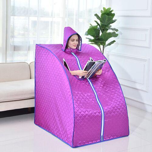 WYCTIN Mobile Dampfsauna mit Kopfhaube, Wärmekabine Saunakabine Sitzsauna