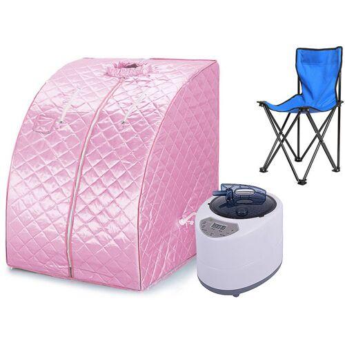 OOBEST Mobile Dampfsauna Wärmekabine Saunakabine Sitzsauna Heimsauna Pink
